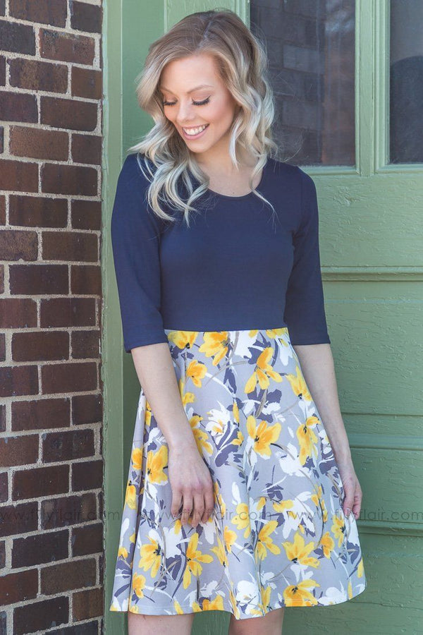 By My Side Floral 3/4 Sleeve Dress In Yellow Navy