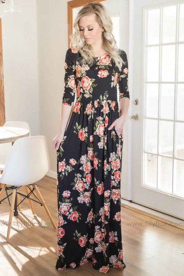 Consider Me Gone Floral Maxi Dress In Coral Black