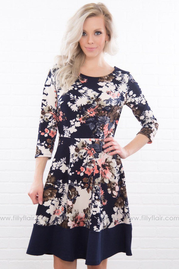Breathe Deeply Floral Mini Dress In Navy