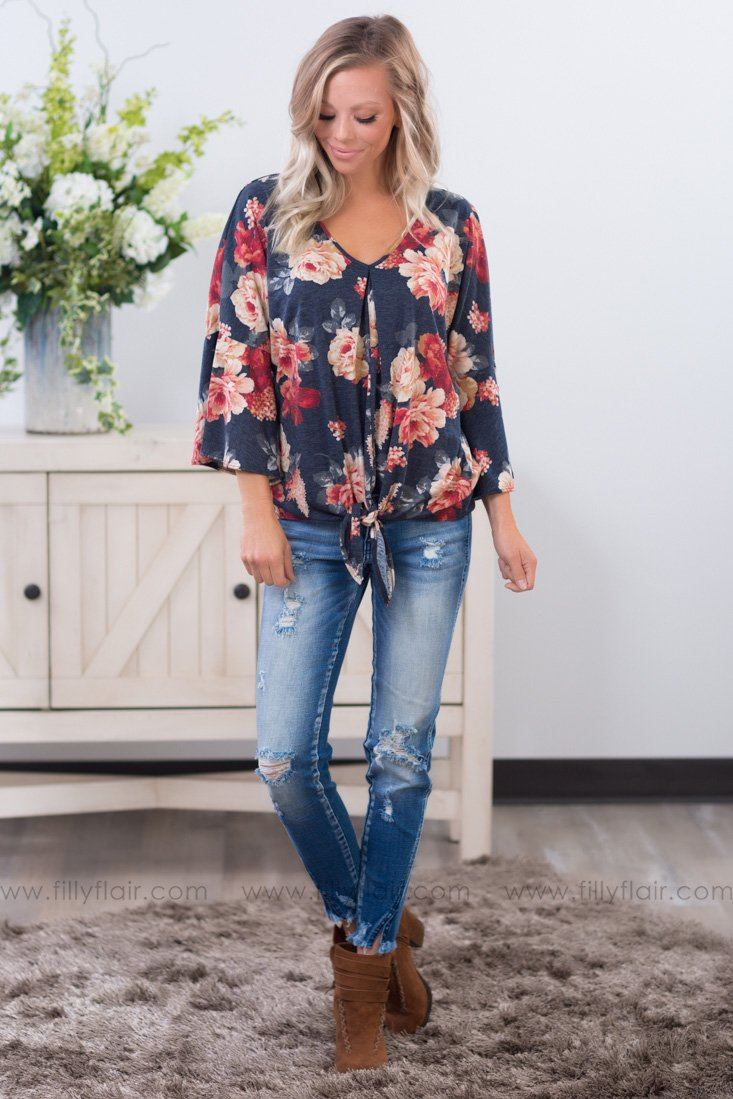 All In a Knot Floral Top In Blue - Filly Flair