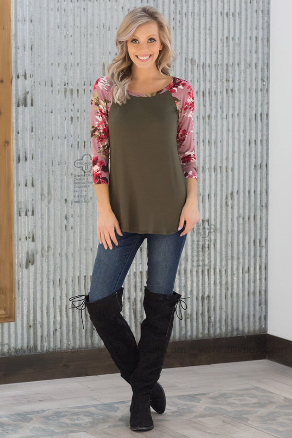 Better Than That Mauve 3/4 Floral Sleeve Top In Olive - Filly Flair