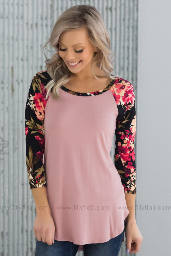 Better Than That 3/4 Floral Sleeve Top In Mauve - Filly Flair