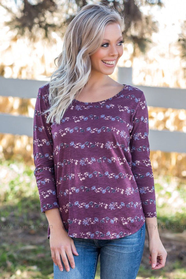 Lucky Brand: Take Me As I Am 3/4 Sleeve Floral Top In Plum - Filly Flair