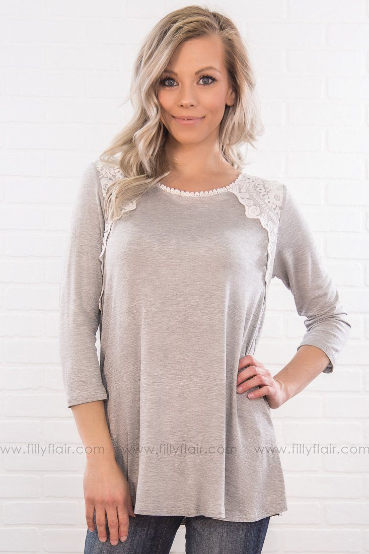 Take Me To The Place I Love Lace Detail Top In Grey