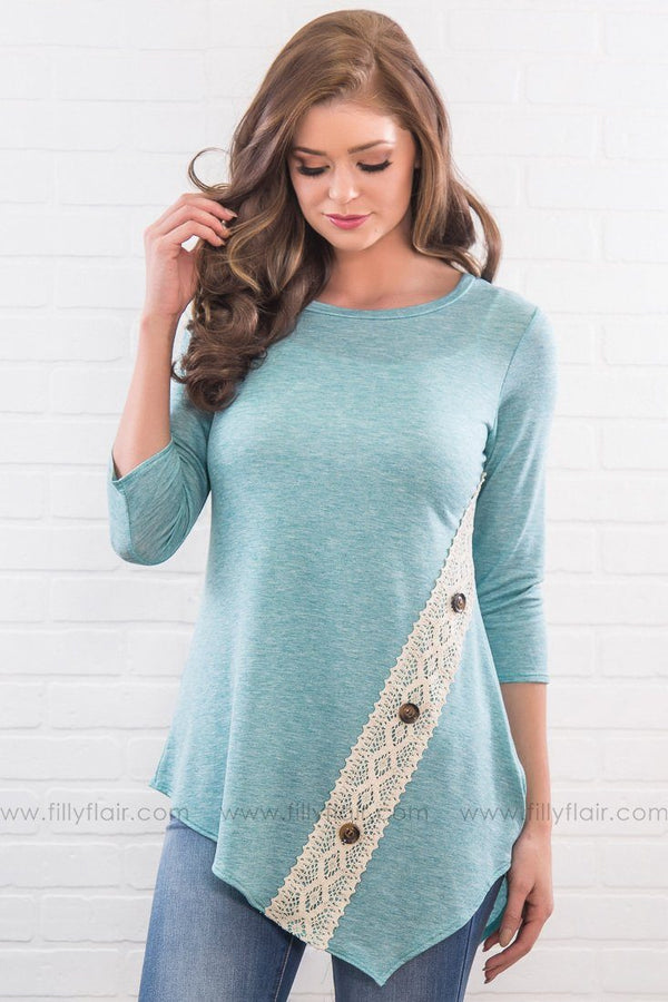 Those Memories Lace Button Top In Dusty Blue