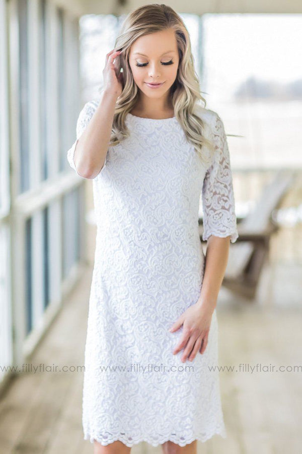 Born To Love You 3/4 Sleeve Lace Dress In White