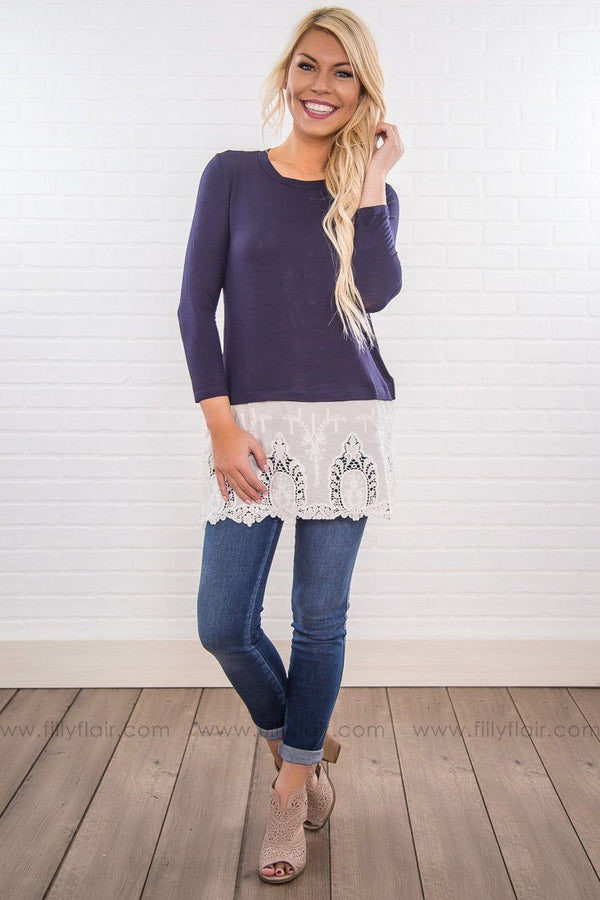 My Everything 3/4 Sleeve Lace Hem Top In Navy - Filly Flair