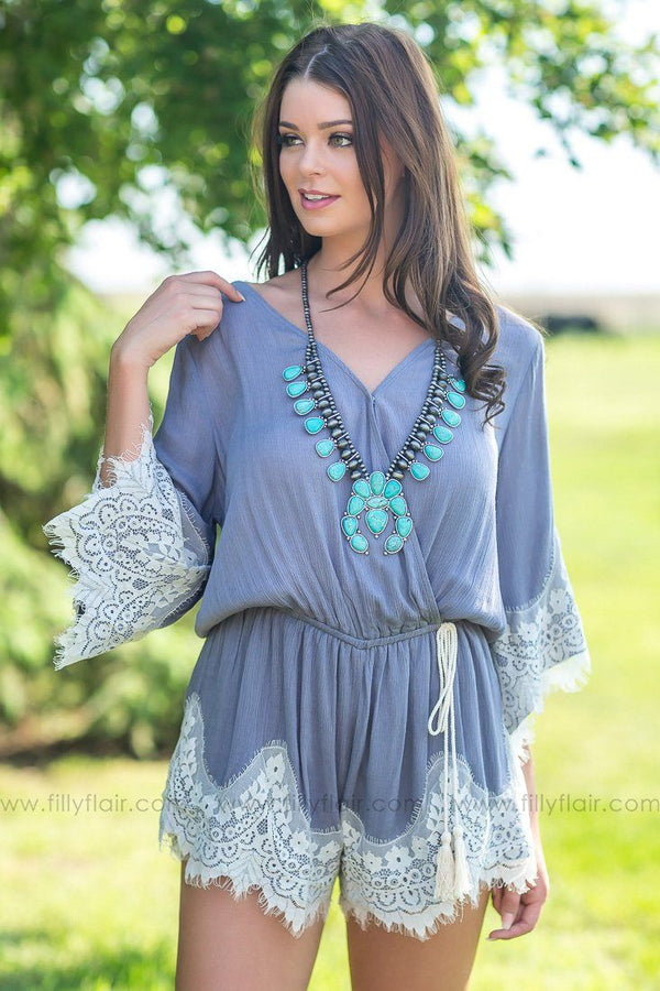 Take It From Me Lace Hem Romper In Slate Grey - Filly Flair