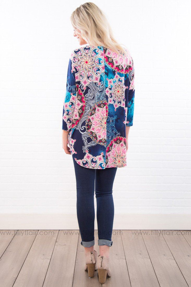 Cross Your Mind Printed Dolman Top In Navy