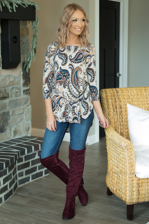 Some Kind of Way Paisley Printed Top in Taupe - Filly Flair