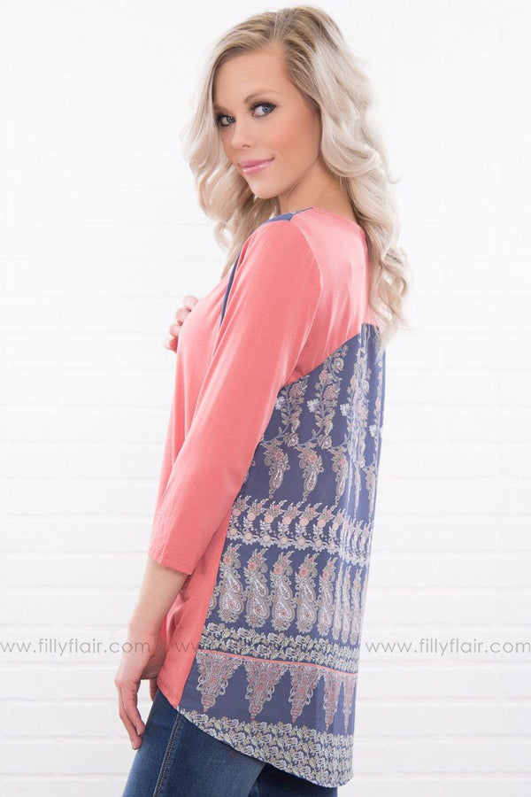 Carry You Paisley Printed Top In Coral
