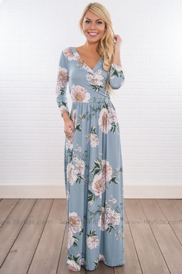 Looks Good On You Floral Maxi Dress In Slate Blue