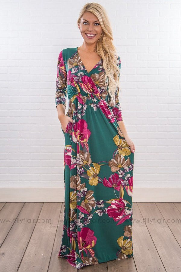 Fall For You 3/4 Sleeve Floral Maxi Dress In Hunter Green