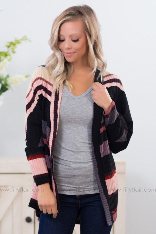 In Every Direction Multi-Colored Striped Dolman Cardigan - Filly Flair