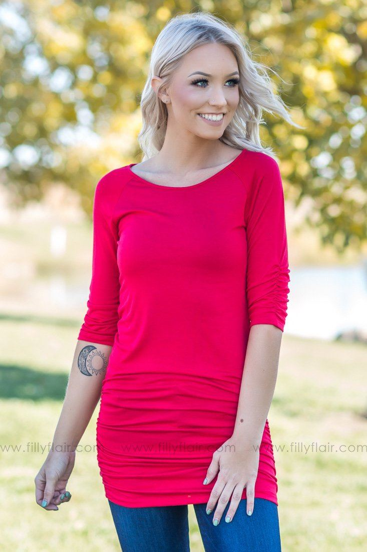 The Perfect Choice 3/4 Sleeve Tunic in Red - Filly Flair