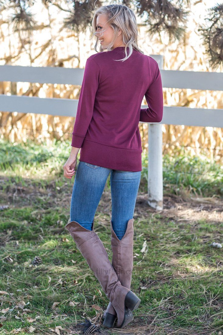 Say It To Me 3/4 Sleeve V-Neck Button Cardigan In Burgundy - Filly Flair
