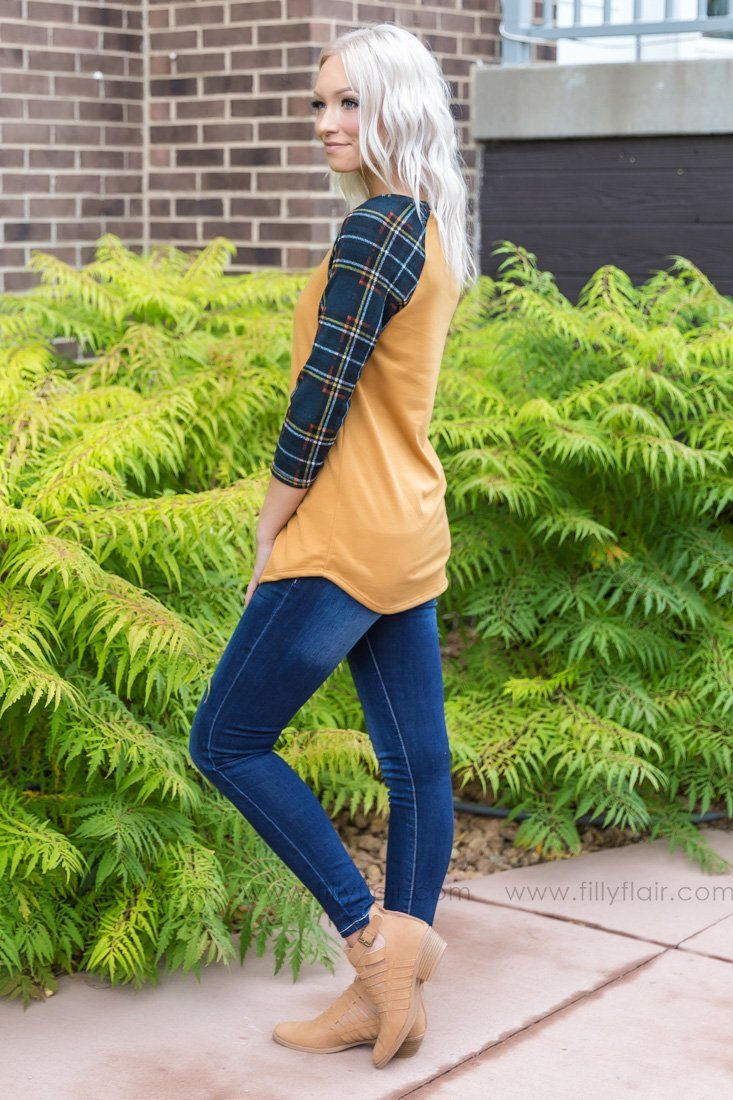I'm In Your Heart 3/4 Plaid Sleeve Top In Mustard - Filly Flair
