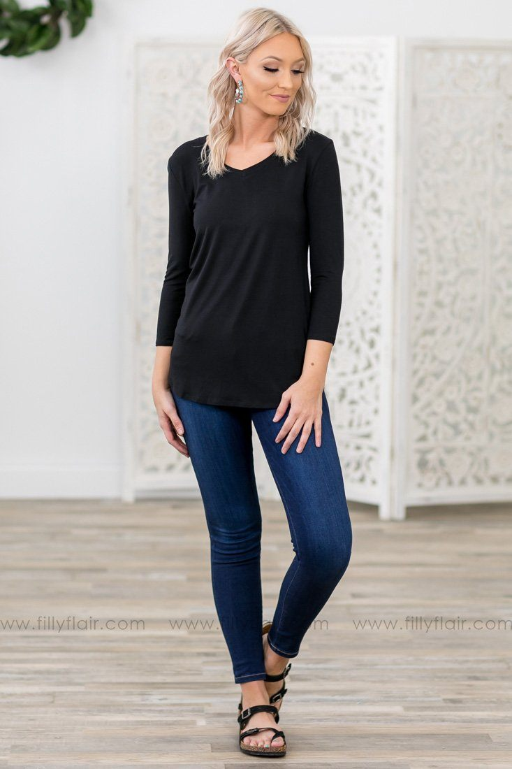 Forever Your Favorite 3/4 Sleeve Basic Top in Black - Filly Flair