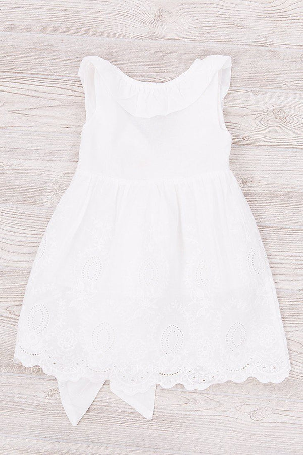 Little Darling White Kid's Dress with Lace