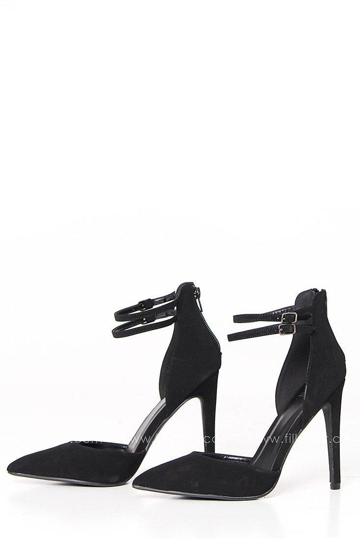 Downtown Classic Strapped Heel in Black