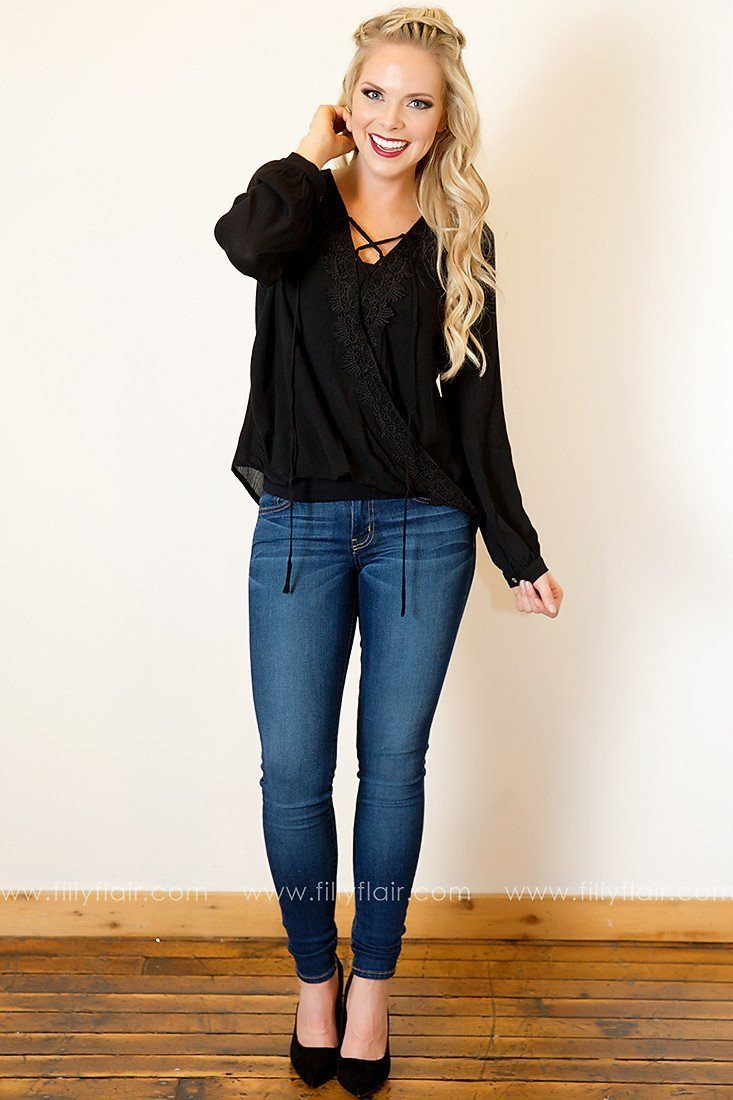 Timeless Romance Peasant Blouse in Black