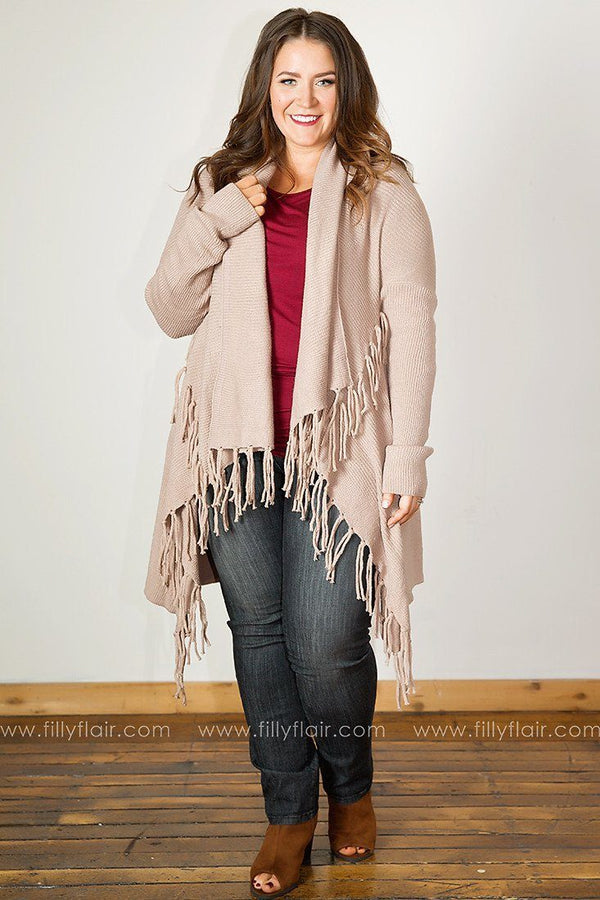 Sweet and Snug Fringed Drape Front Cardigan in Mocha
