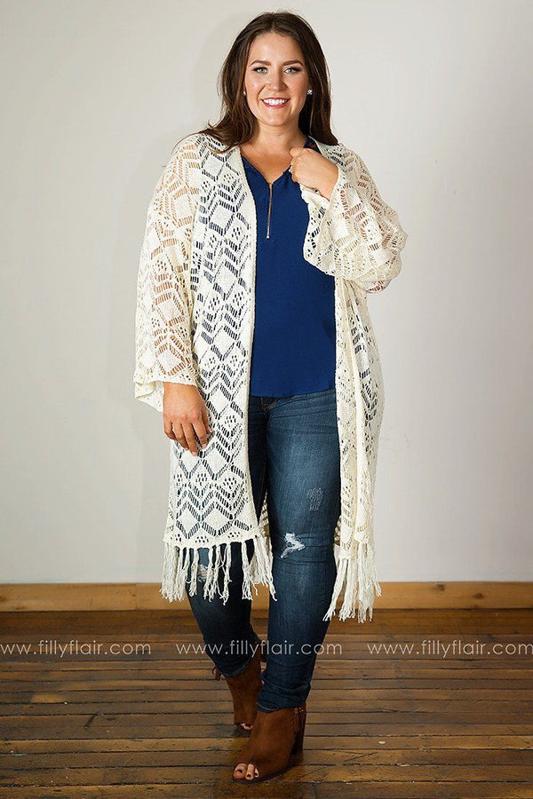 Romantic Spirit Fringed Lace Long Cardigan