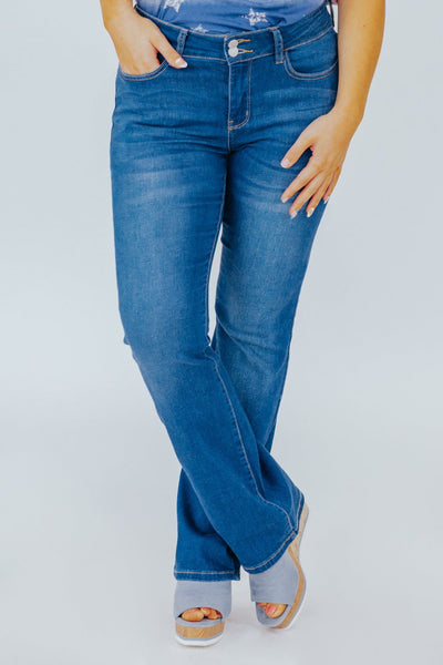 Jordyn Judy Blues Mid Rise Slim Bootcut Fit Medium Wash Jeans - Filly Flair