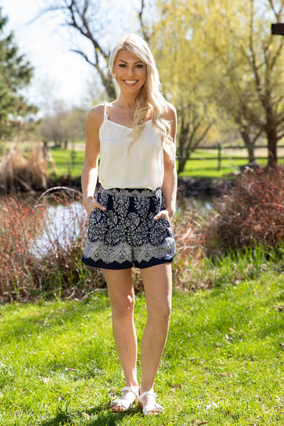 Open Door Floral Printed Pocket Shorts in Navy White - Filly Flair