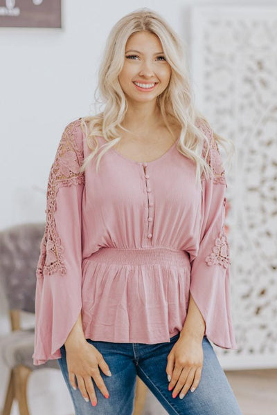 Faith, Hope, Love Lace Cinched Elastic Waist Button Down in Mauve - Filly Flair