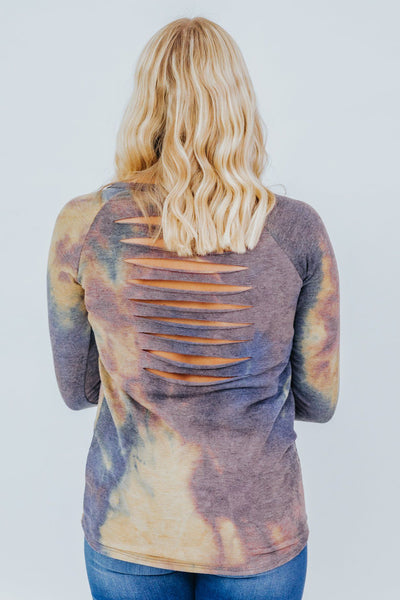Still I Wonder Tie Dye Long Sleeve Top in Navy - Filly Flair