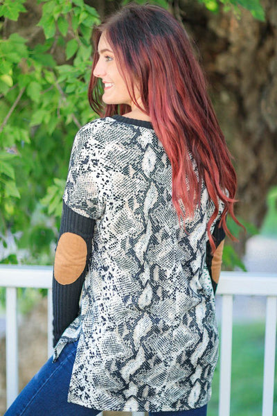 Reminds Me Of You Snake Skin Printed Long Sleeve Top Black Ivory - Filly Flair