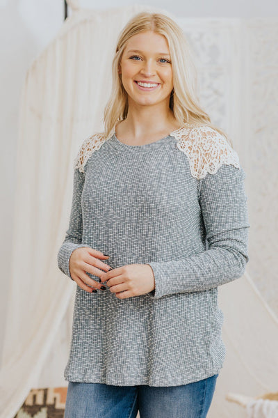 *DEAL* Your Own Mantra Crochet Shoulder Detail Long Sleeve Top in Dusty Blue - Filly Flair