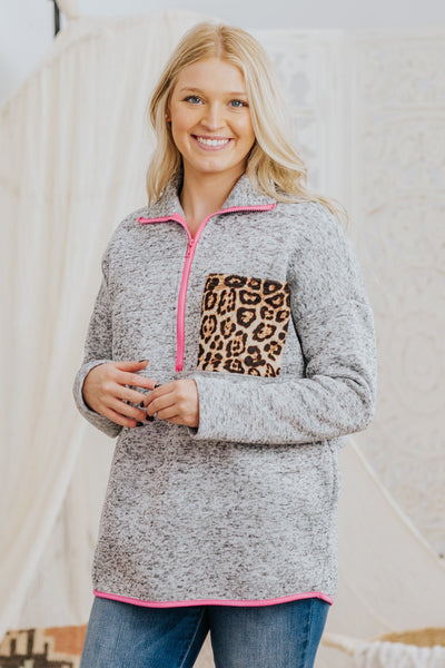Top Of The Morning 1/4 Zip Up Long Sleeve Top in Heather Grey - Filly Flair