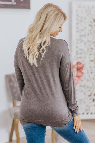 Come Dance With Me Fringe Detail Long Sleeve Top In Charcoal - Filly Flair