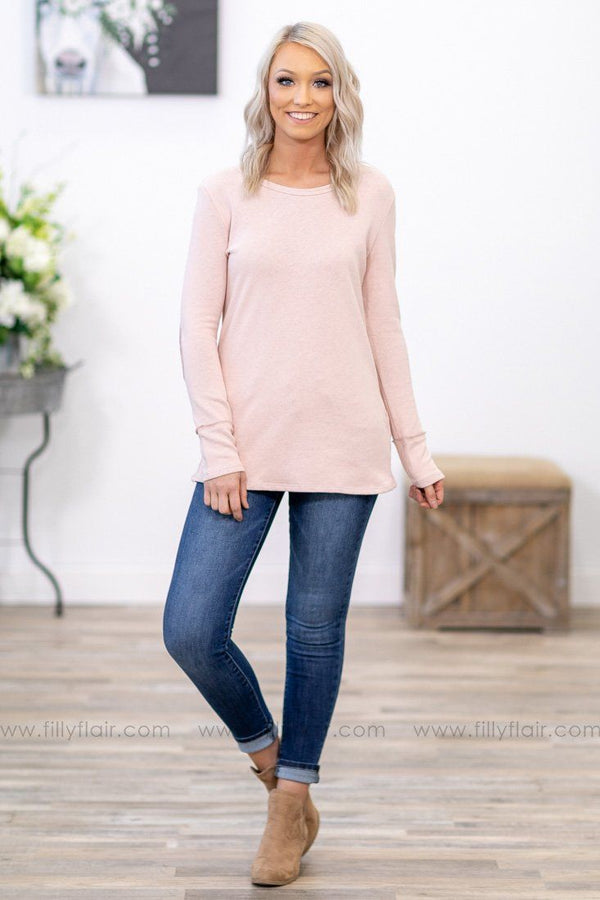 Sweet Temptation Long Sleeve Button Back Elbow Patch Top in Pink - Filly Flair