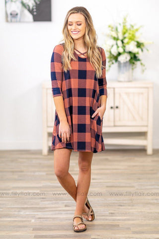 I'm The One 3/4 Sleeve Buffalo Plaid Criss Cross Dress In Red