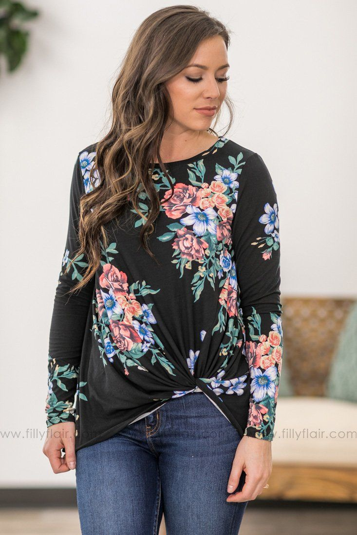 d33e897d Never Say Goodbye Long Sleeve Floral Rolled Knot Top in Black