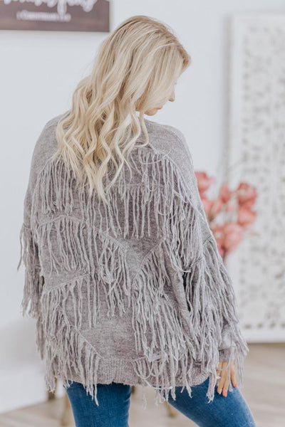 Schedule In Fun Fringe Chevron Long Sleeve Sweater in Heathered Grey - Filly Flair