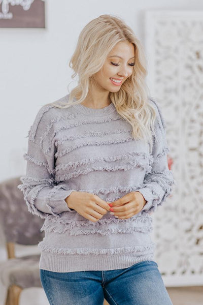 Power Of Reason Fringe Stripe Detail Long Sleeve Sweater in Heathered Grey - Filly Flair