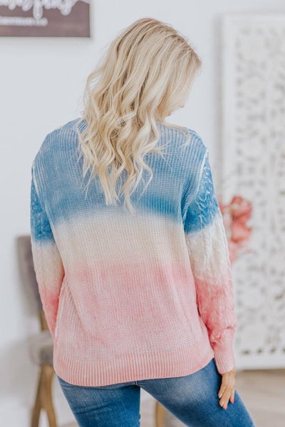 Value Yourself Ombre Cable Knit Long Sleeve Sweater in Dusty Pink - Filly Flair