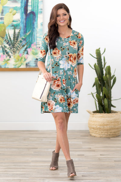 All the Spring Feels 3/4 Sleeve Floral Dress in Sage - Filly Flair