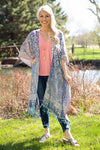 Your Terms Paisley Embroidered Kimono in Baby Blue Pink - Filly Flair