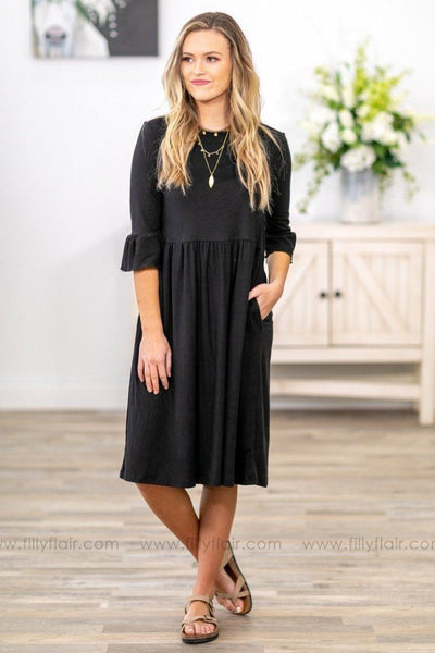 All My Loving 3/4 Ruffle Sleeve Dress in Black - Filly Flair
