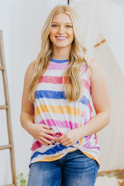 Show Off Your True Beauty Twist Knot Detail Striped Sleeveless Top in Navy - Filly Flair