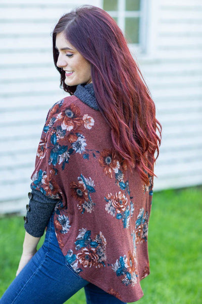 I'm Gonna Stand By You Floral Turtle Neck Long Sleeve Button Detail Dolman in Rust - Filly Flair