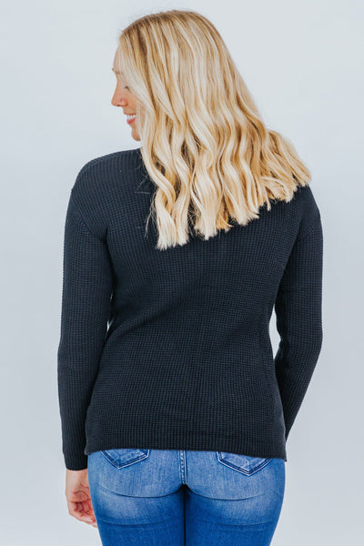 Don't Give Up Thermal Knit Long Sleeve Top in Black - Filly Flair