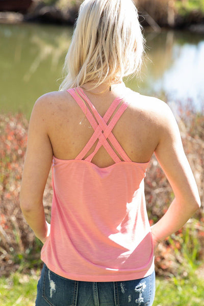 Across The Way Criss Cross Back Double Strap Tank in Strawberry - Filly Flair