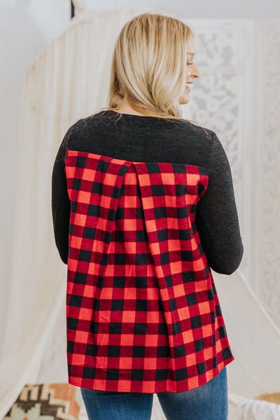 *DEAL*  Hearts Keep Breaking Long Sleeve Plaid Top in Black - Filly Flair