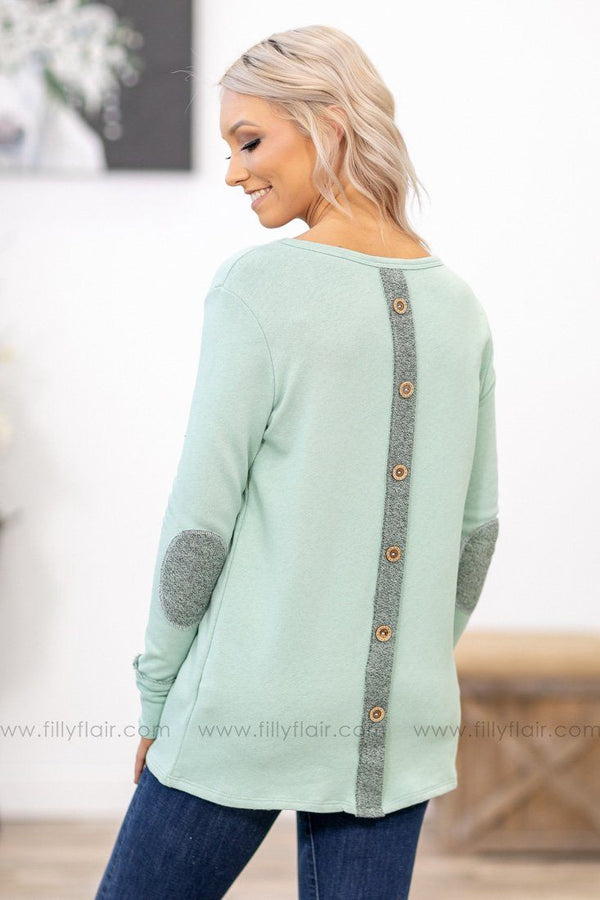 Sweet Temptation Long Sleeve Button Back Elbow Patch Top in Mint - Filly Flair